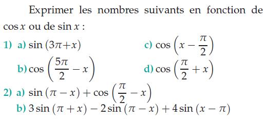 Exprimer les nombres en fonction de cosx et sinx : exercices en terminale S.