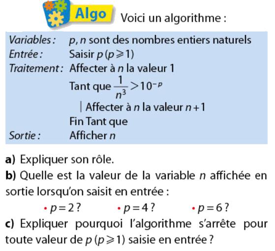 Algorithme et variable de sortie : exercices en terminale S.