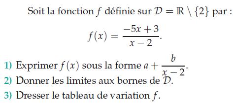 Limites aux bornes de l'ensemble de définition : exercices en terminale S.