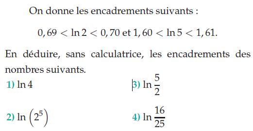 En déduire des encadrements de logarithmes : exercices en terminale S.