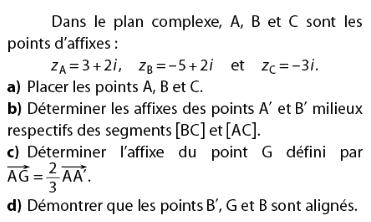 Déterminer les affixes et démontrer l'alignement : exercices en terminale S.