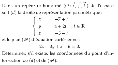 Déterminer les coordonnées du point d'intersection : exercices en terminale S.