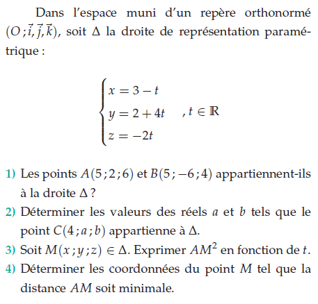 Déterminer les coordonnées du point M tel que la distance AM soit minimale : exercices en terminale S.