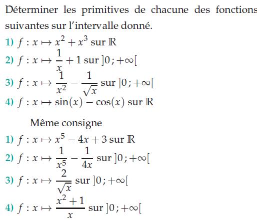Déterminer les primitives de chacune des fonctions : exercices en terminale S.
