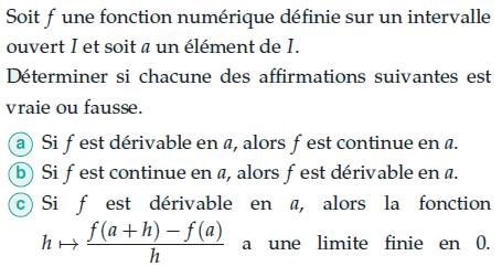Lien entre continuité et dérivabilité : exercices en terminale S.