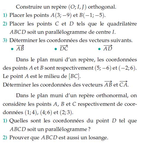 Calculer les coordonnées pour que ABCD soit un parallélogramme : exercices en 6ème.