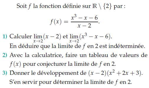Fonction rationnelle et limite en un point : exercices en terminale S.