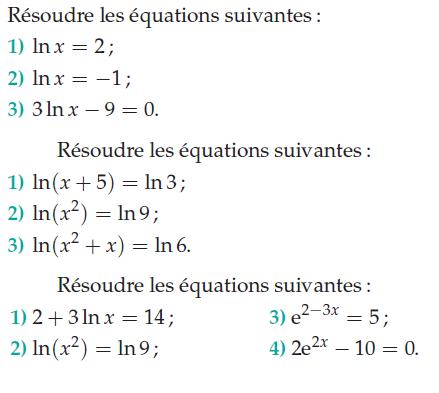 Résoudre des équations : exercices en terminale S.