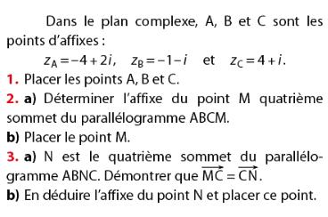 Affixe d'un sommet du parallélogramme : exercices en terminale S.