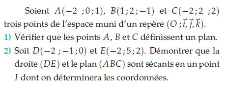 Démontrer que la droite et le plan sont sécants : exercices en terminale S.