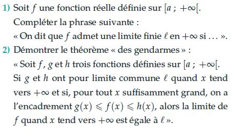 Le théorème des gendarmes : exercices en terminale S.