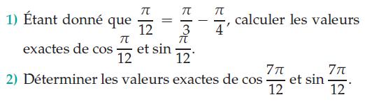 Déterminer la valeur de cosinus et sinus : exercices en terminale S.