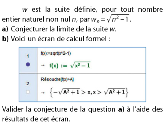 Conjecture avec le calcul formel : exercices en terminale S.