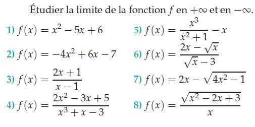 calculer plusieurs limites en l'infini : exercices en terminale S.