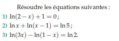 Résoudre les équations suivantes : exercices en terminale S.
