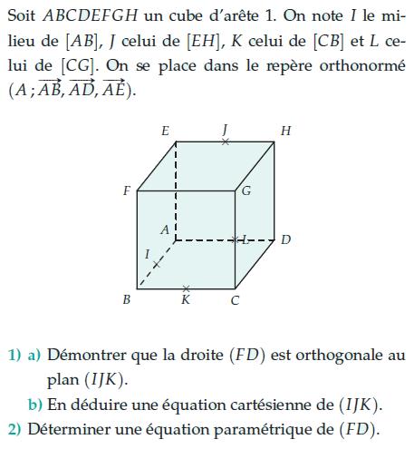 Démontrer que la droite est orthogonale au plan : exercices en terminale S.