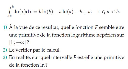 Sur quel intervalle F est-elle une primitive de la fonction ln ? : exercices en terminale S.