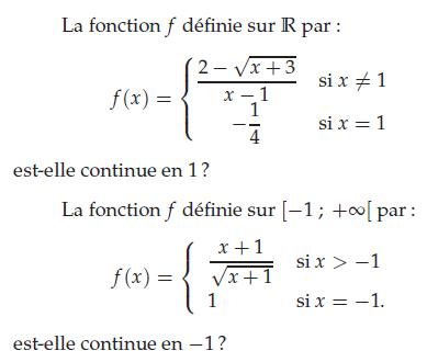 Continuité en 1 et - 1 d'une fonction : exercices en terminale S.