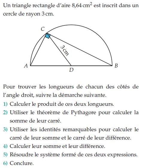 Problème de géométrie avec un triangle rectangle : exercices en 2de.