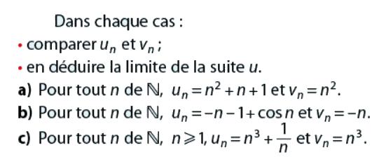 Comparer un et vn dans chaque cas : exercices en terminale S.