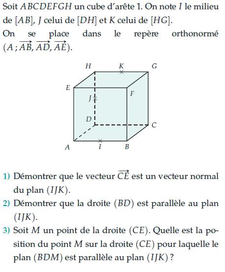 Démontrer que c'est un vecteur normal du plan : exercices en terminale S.