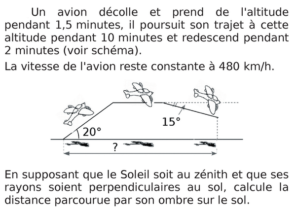 Vitesse d'un avion : exercices en 3ème.