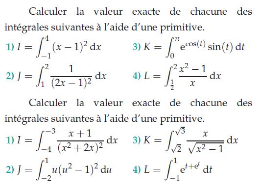 Calculer la valeur exacte des intégrales : exercices en terminale S.