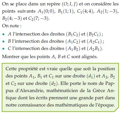 Montrer que les points A,B et C sont alignés : exercices en 2de.