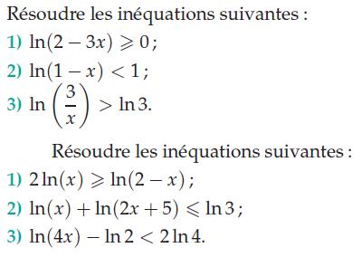 Logarithme et inéquations : exercices en terminale S.