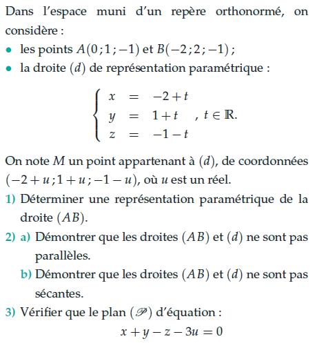 Démontrer que les droites ne sont pas parallèles : exercices en terminale S.