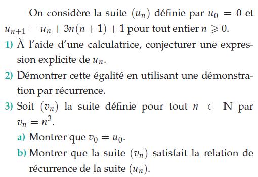 Suite qui satisfait la relation de récurrence : exercices en terminale S.