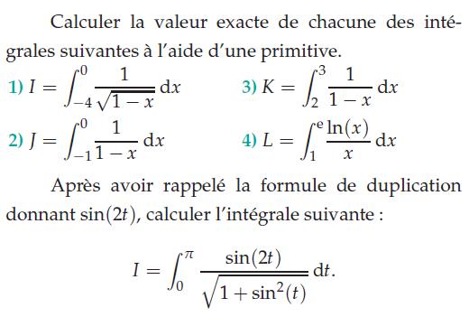 Calculer la valeur exacte des intégrales à l'aide des primitives : exercices en terminale S.