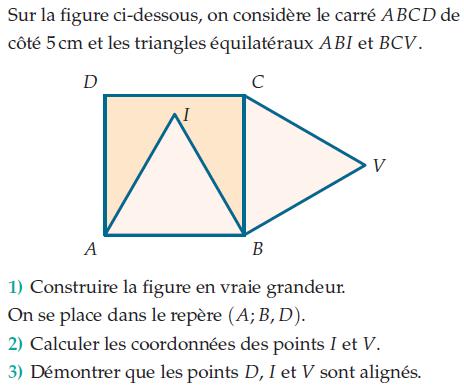 Carré et triangles équilatéraux : exercices en 2de.