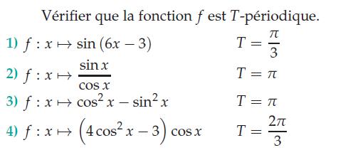 Vérifier que la fonction est T-Périodique : exercices en terminale S.