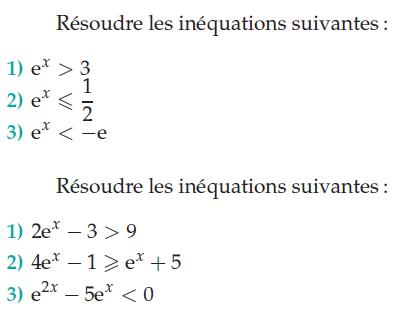 Inéquations et exponentielles : exercices en terminale S.