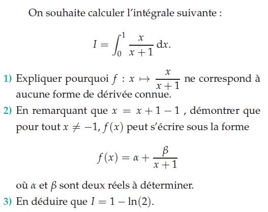 problème sur le calcul d'une intégrale classique : exercices en terminale S.