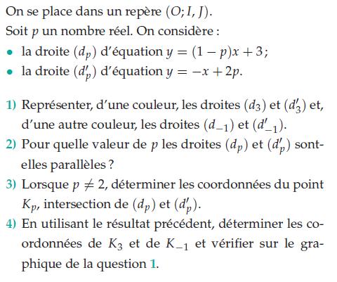 Déterminer les coordonnées des points et intersection : exercices en 2de.