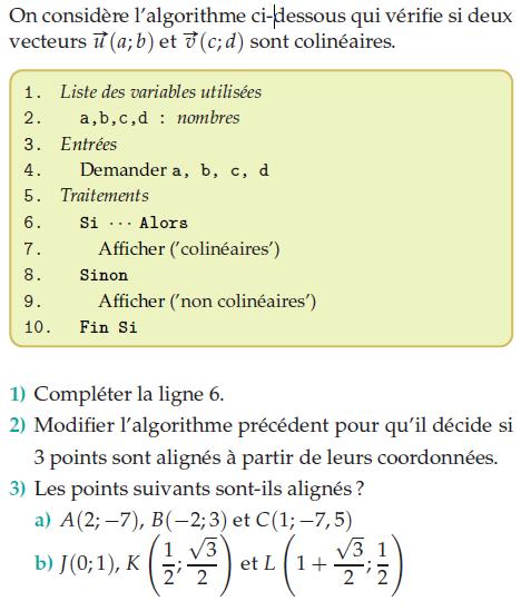 Algorithme et vecteurs colinéaires : exercices en 2de.