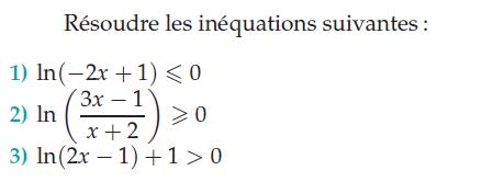 Logarithmes et résolution des inéquations : exercices en terminale S.