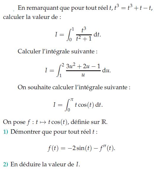 Problème et calculs d'intégrales : exercices en terminale S.