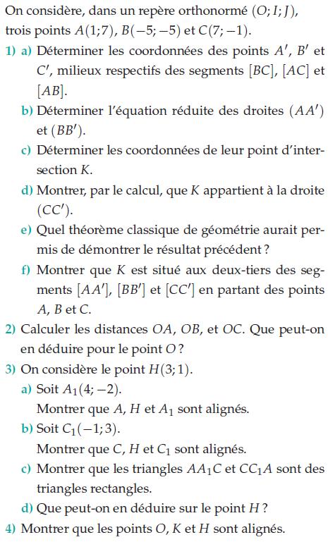Problème de géométrie dans un repère orthonormé : exercices en 2de.