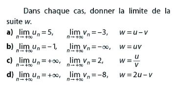 Donner la limite de la suite w dans chaque cas : exercices en terminale S.