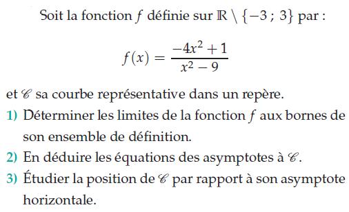 Déduire les équations des asymtotes : exercices en terminale S.