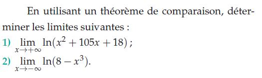 Théorème de comparaison et limites de logarithmes : exercices en terminale S.
