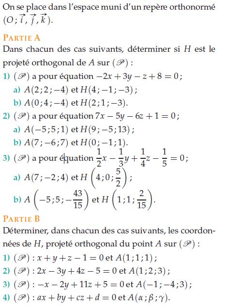 Déterminer les coordonnées du point H projeté orthogonal : exercices en terminale S.