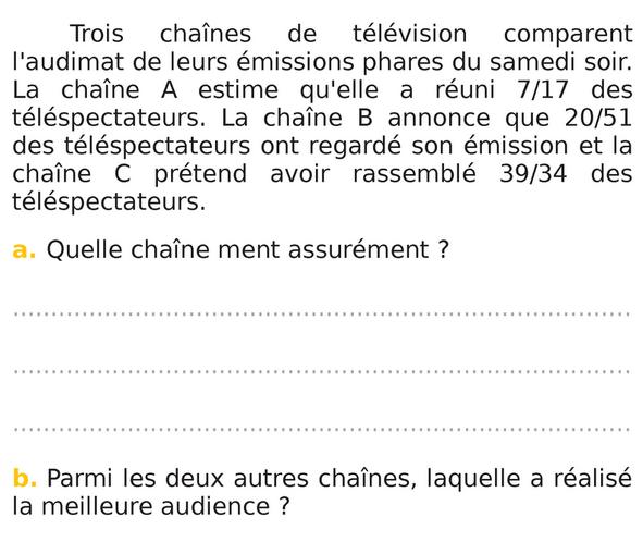 Trois chaînes de télévision et fractions : exercices en 5ème.