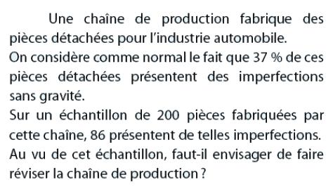 Chaîne de production et échantillon : exercices en 2de.