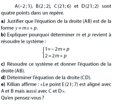 Systèmes et équations de droites : exercices en 2de.