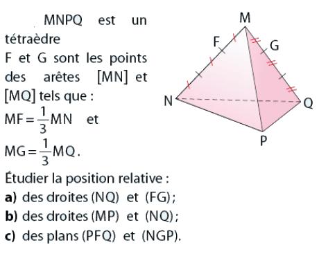 Position relative dans un tétraèdre : exercices en 2de.