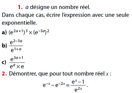 Donner l'expression avec une seule exponentielle : exercices en terminale S.
